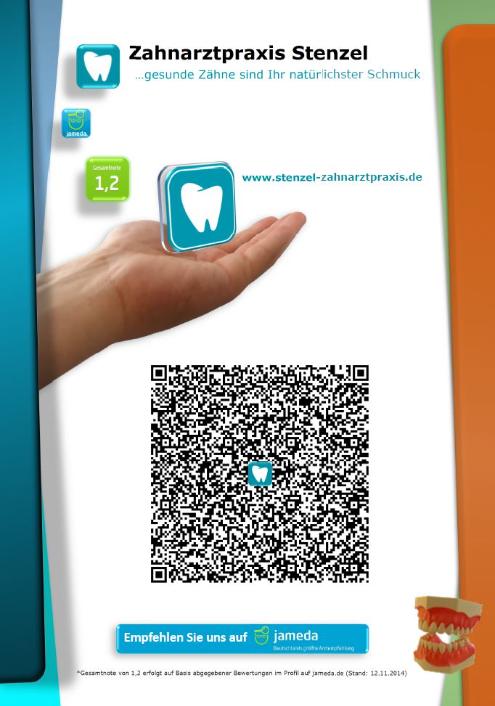 Austeller, Zahnarztpraxis Stenzel, QR-Code